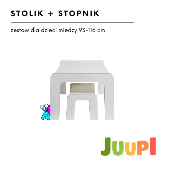ZESTAW STOLIK DREWNIANY JUUPI + #STOPNIK/TABORET