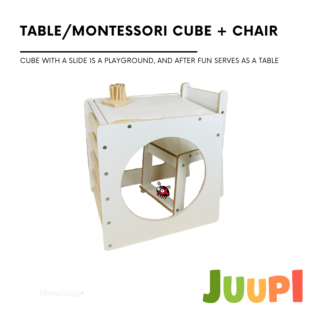 MULTIFUNCTIONAL SET: TABLE/MONTESSORI CUBE + CHAIR